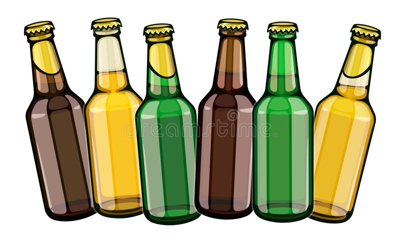 Beer bottles row set. Beer bottles set full filled with crafting brewery beer drink glass tare closed with caps, isolated white background. EPS10 vector vector illustration