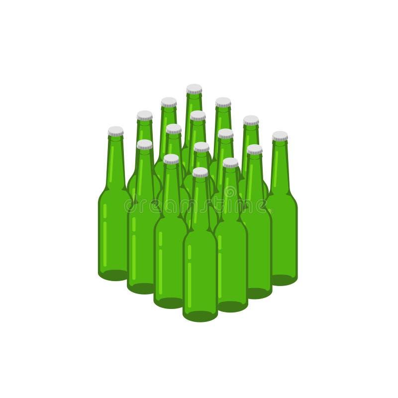 Beer bottles stack vector illustration, 3d isometric lots of bottles group clipart. Beer bottles stack vector illustration, 3d isometric lots of bottles group royalty free illustration