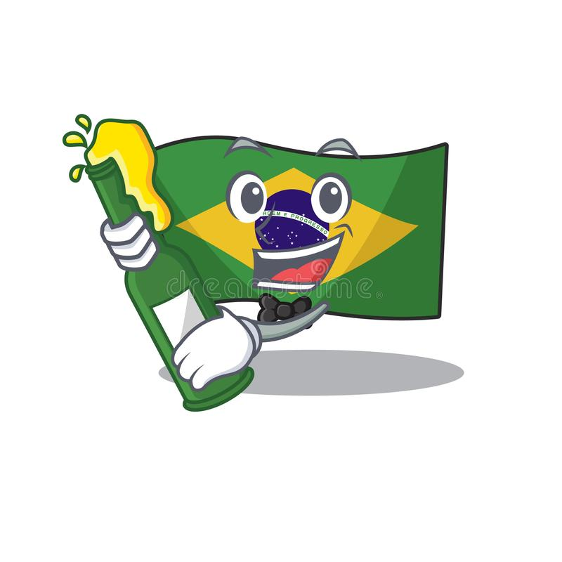 With beer brazil flag kept in mascot drawer. Illustration vector royalty free illustration