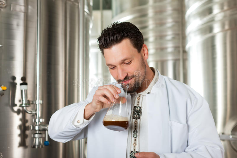 Beer brewer in his brewery examining. Brewer standing in his brewery and is examining the beer for its purity royalty free stock photos