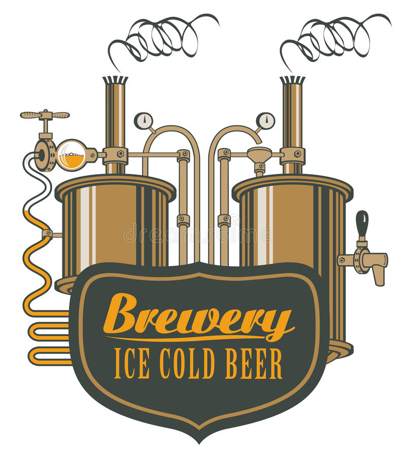 Beer brewery with barrels. Vector logo for beer brewery with barrels in retro style stock illustration