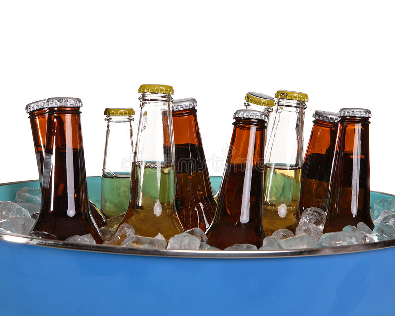 Beer in a bucket stock image