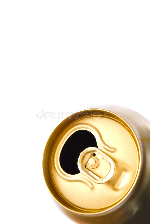 Beer can. Open beer can on white background royalty free stock photos