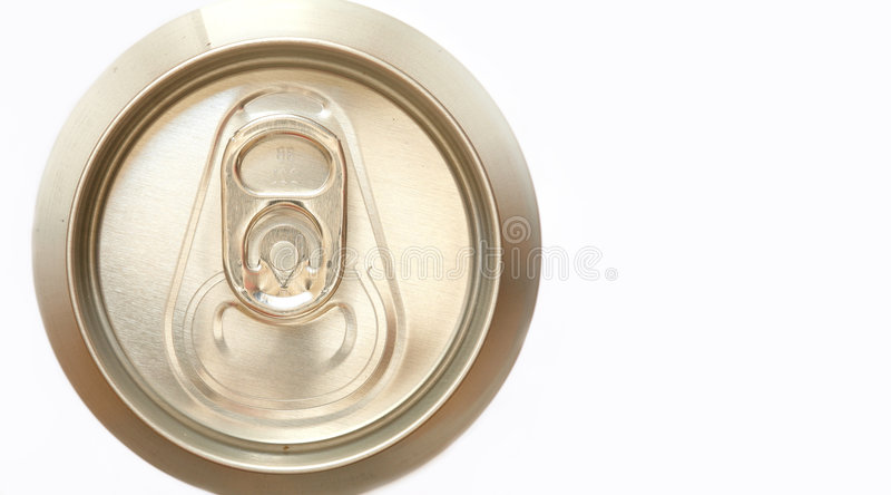 Beer can. Closeup on the top of a closed beer can, with sharp aluminum texture, in a warm, golden tone, isolated on white; very high definition royalty free stock photography