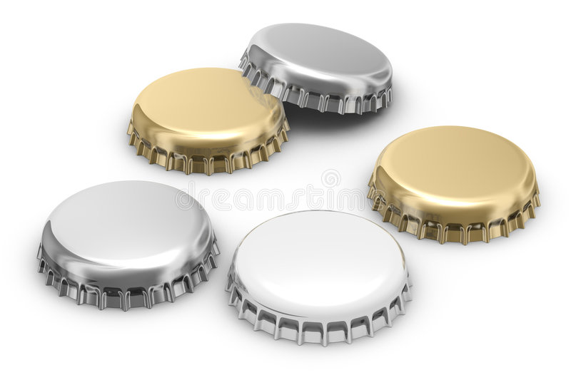 Beer caps (w clipping path) vector illustration
