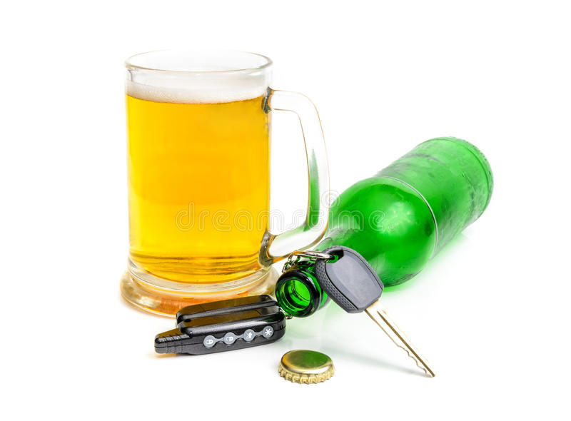 Beer and car keys stock photo
