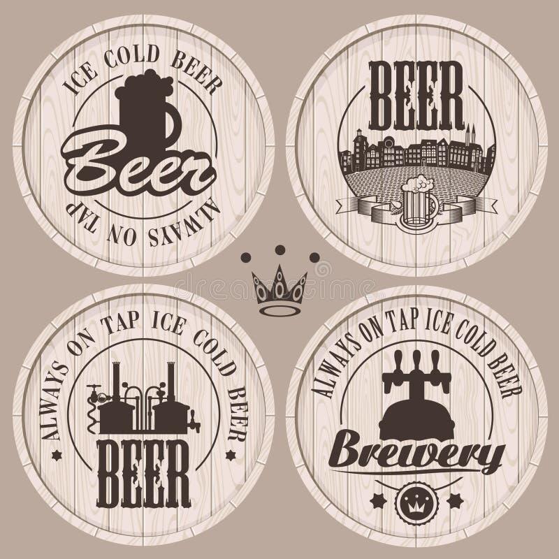 Beer casks. Set of labels to beer on wooden casks