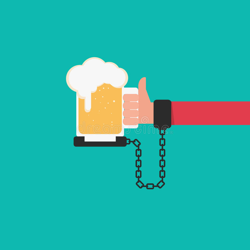 Beer chained to handcuff in hand. Alcoholism concept. Cartoon Vector Illustration royalty free illustration