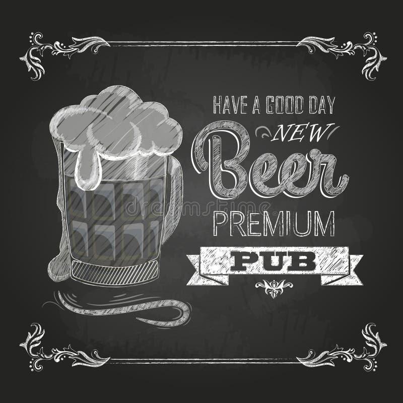 Beer. Chalk drawing vector illustration