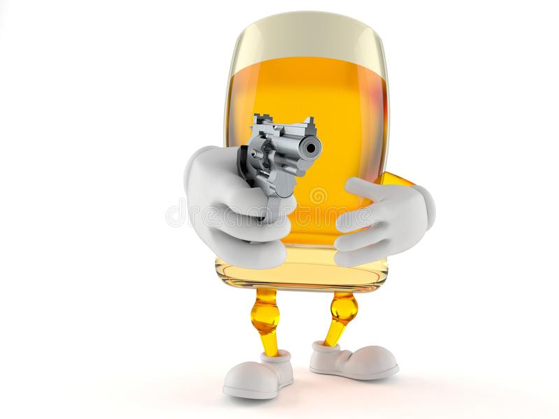 Beer character aiming a gun. On white background royalty free illustration