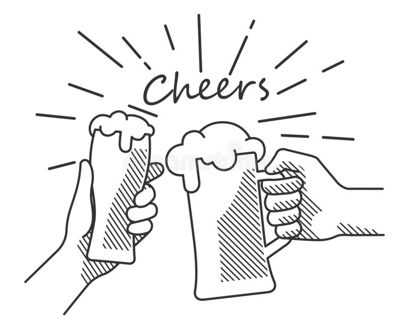 Beer cheers hand b&w. Flat isolated vector illustration of drinking beers. Two hands holding and clinking with glass and mug beer, cheers, clinking glasses stock illustration