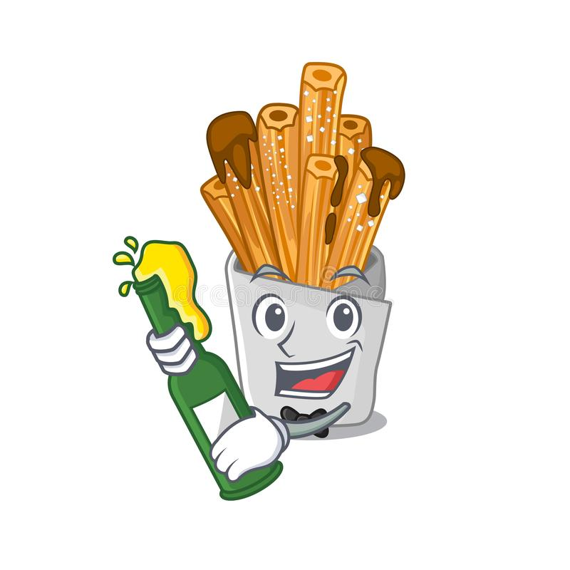 With beer churros in the wooden character jar. Vector illustration vector illustration