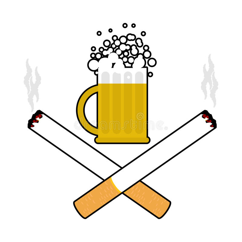 Beer and cigarettes. Alcohol and smoking sign. Logo for harm health. Emblem for harmful products stock illustration