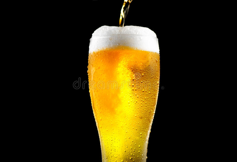 Beer. Cold craft light beer pouring in a glass. With water drops stock image