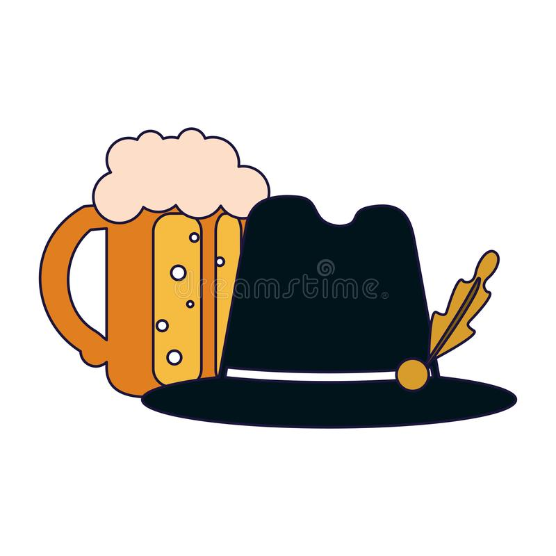 Beer cup and hat. Beer cup and bavarian hat vector illustration graphic design stock illustration
