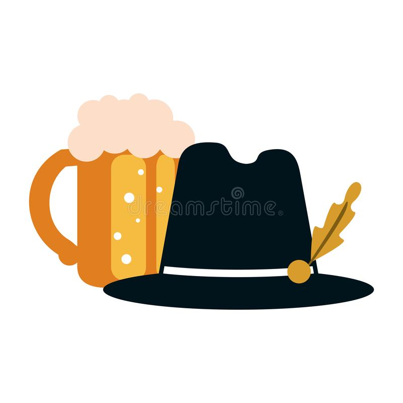 Beer cup and hat. Beer cup and bavarian hat vector illustration graphic design vector illustration