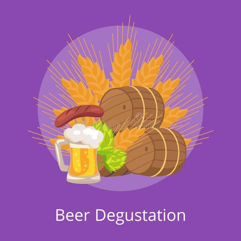 Beer Degustation Vector Illustration Wooden Casks. Beer degustation vector illustration of wooden casks, beer mug, fried sausage, green hop and wheat ear on royalty free illustration