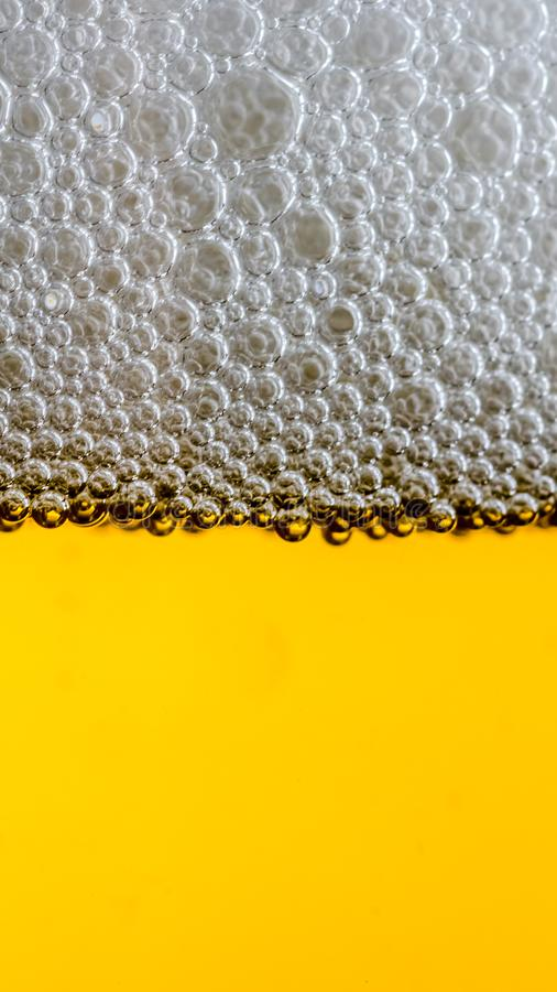 Beer Detail. Close up macro shot of bubbles in a glass full of beer