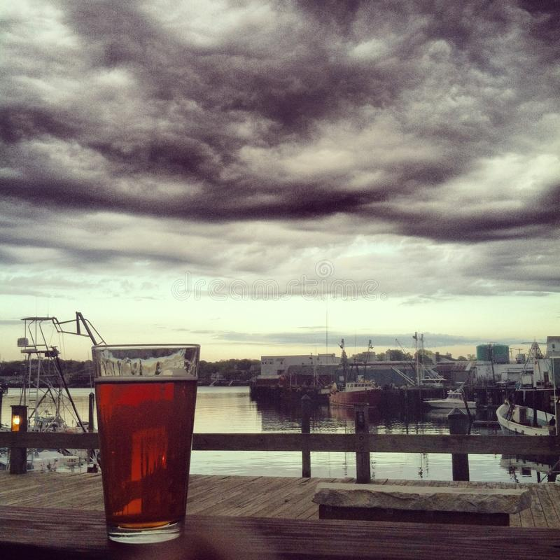 Beer on the dock stock photography