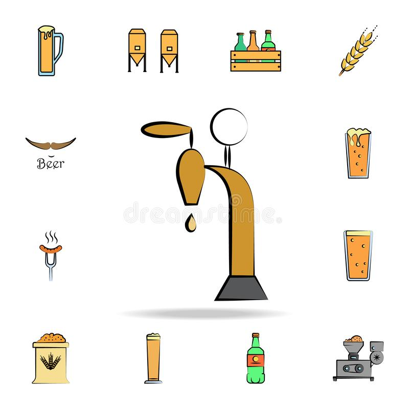 Beer faucet colored sketch style icon. Detailed set of color beer in hand drawn style icons. Premium graphic design. One of the. Collection icons for websites royalty free illustration