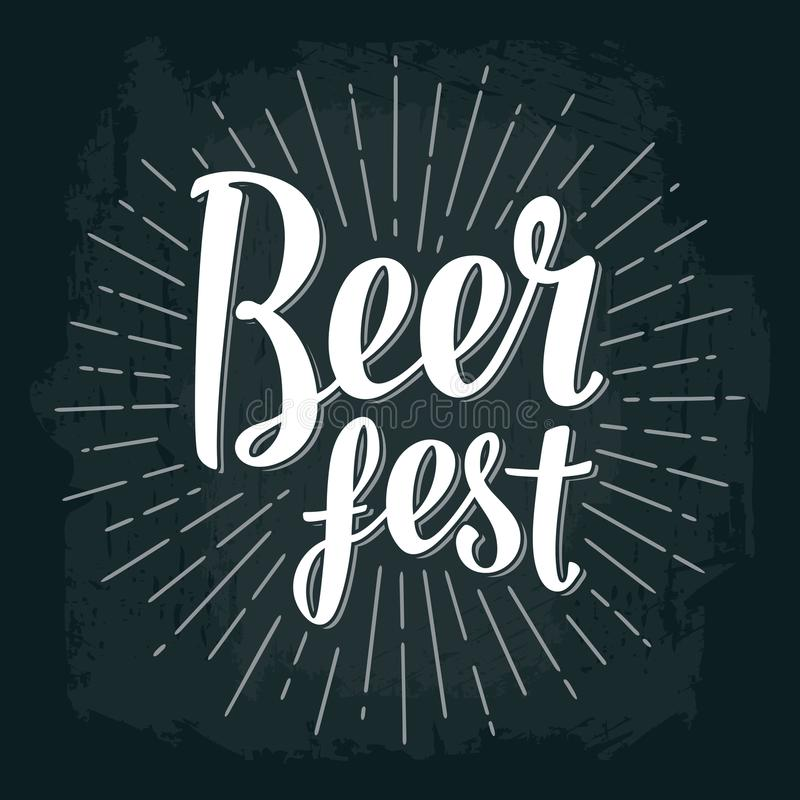 Beer fest lettering. Vector vintage engraving illustration. On dark background royalty free illustration