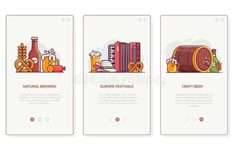 Beer Festival and Brewing UI Illustrations royalty free illustration
