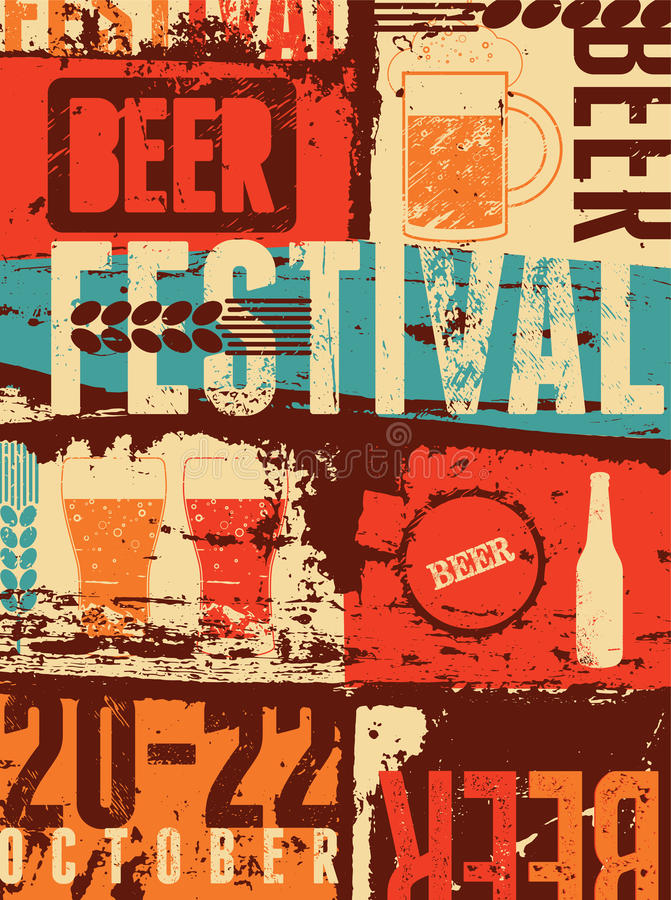 Download Beer Festival Vintage Style Grunge Poster Retro Vector Illustration Editorial Stock Photo