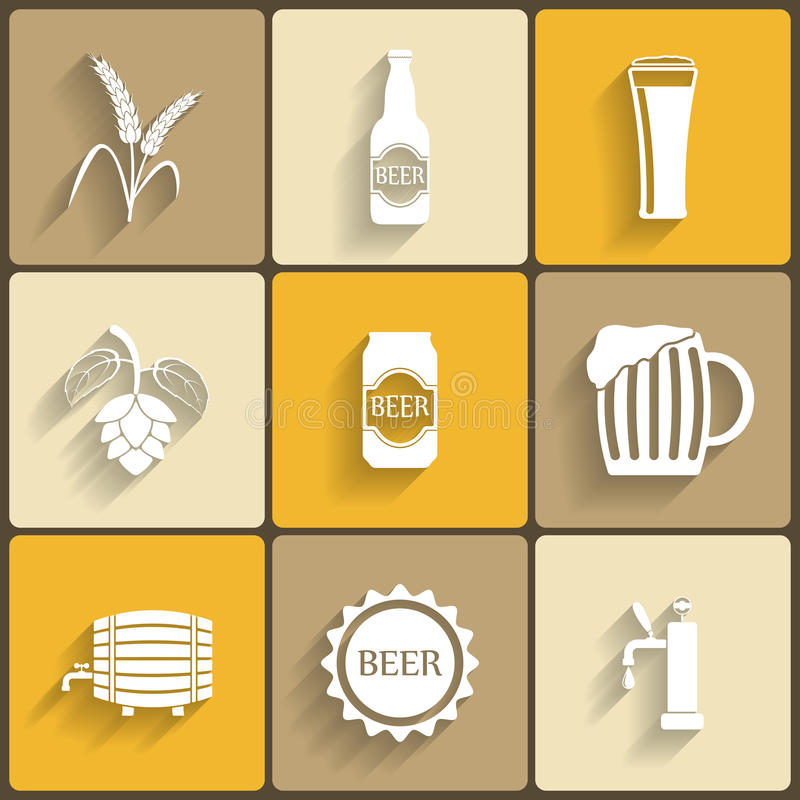 Beer Flat Icons. For Web and Mobile Applications stock illustration