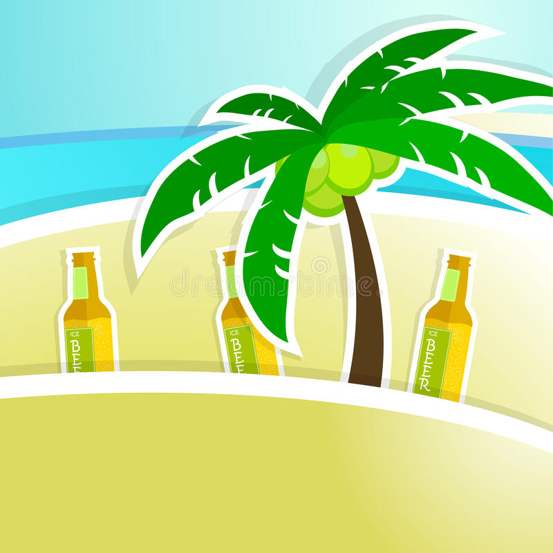 Beer with foam on bar counter. Tropical resort stock illustration