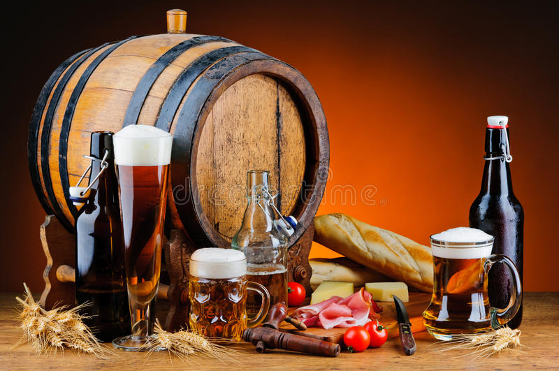 Beer and food. Still life with different beer and food stock photo
