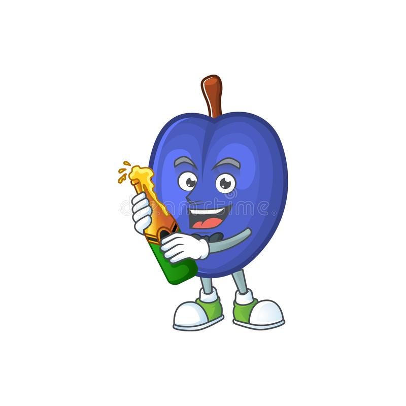 With beer fruits prune character on white background. Vector illustration stock illustration