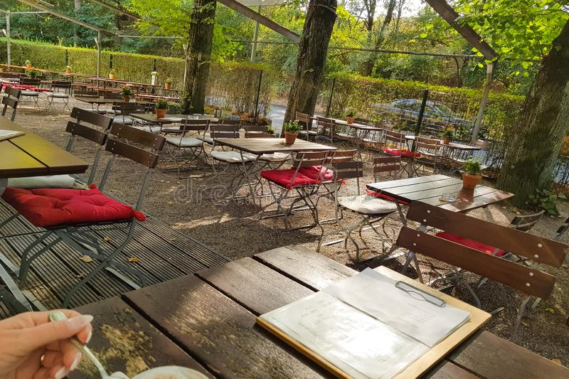 Beer garden awaits its guests stock photography