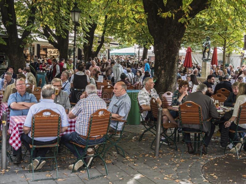 Beer garden at the Viktualienmarkt stock image