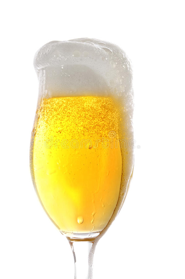 Beer in a glass. In front of a white background stock photography