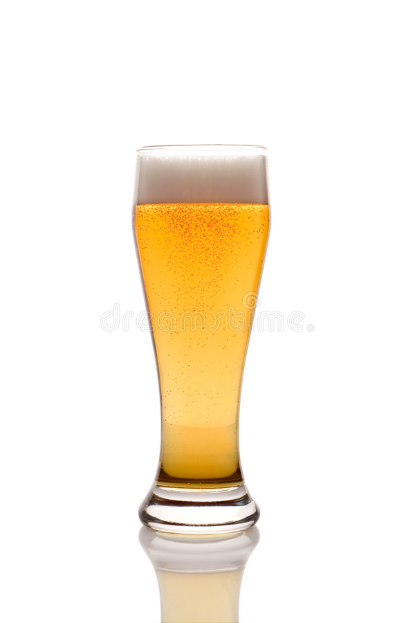 Beer glass. Isolated against white background stock image