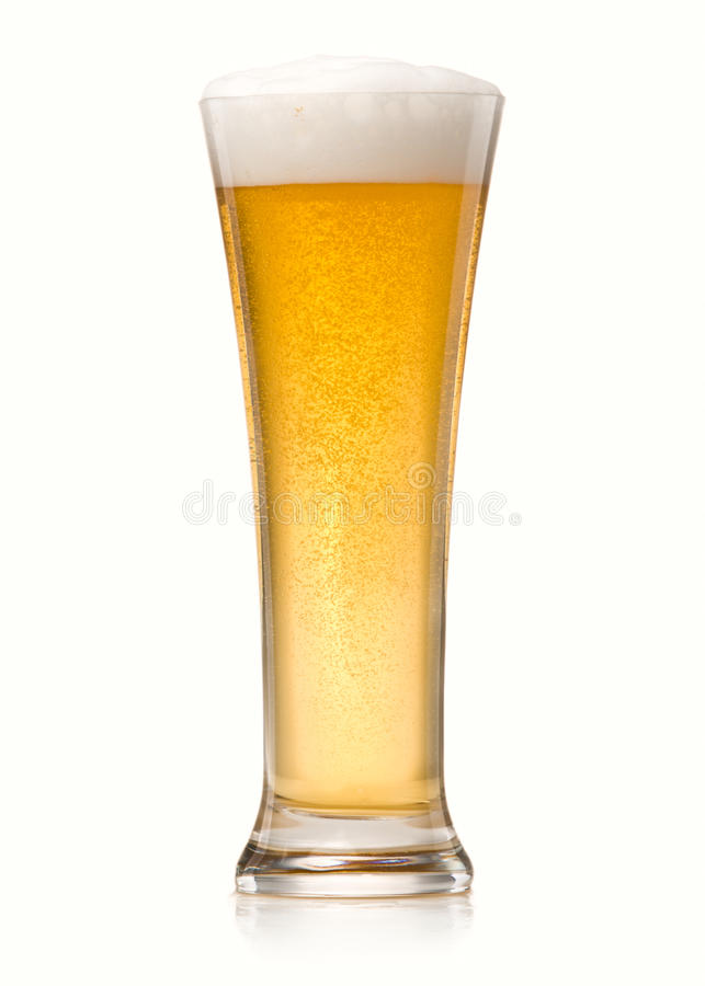 Beer into glass royalty free stock photography
