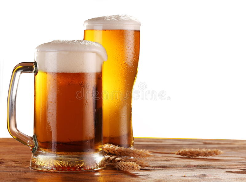 Beer by the glass stock photography