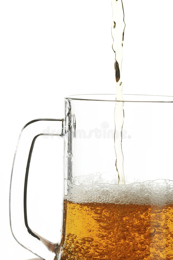 Beer in glass stock photos