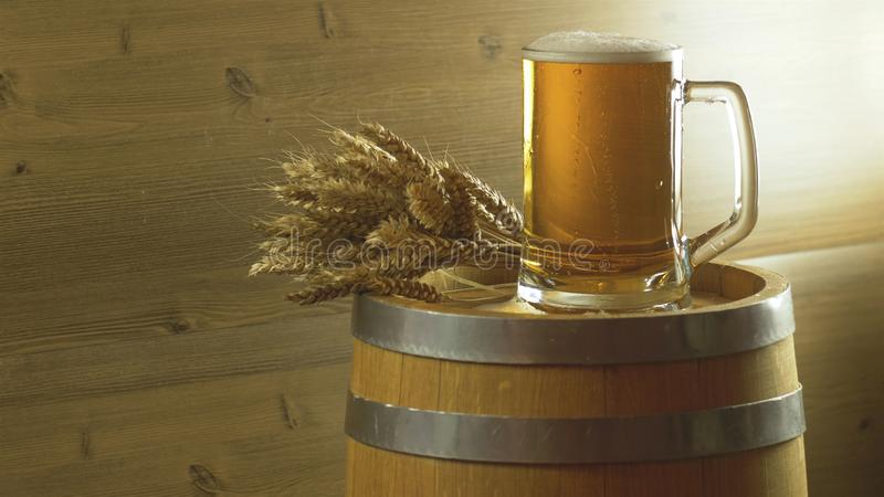 Beer glass barley and wheat on a wooden barrel. Full beer glass barley and wheat on a wooden barrel stock image