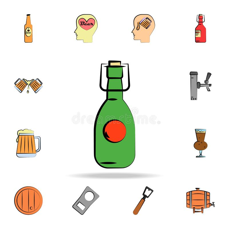 Beer in glass bottle colored sketch style icon. Detailed set of color beer in hand drawn style icons. Premium graphic design. One. Of the collection icons for stock illustration
