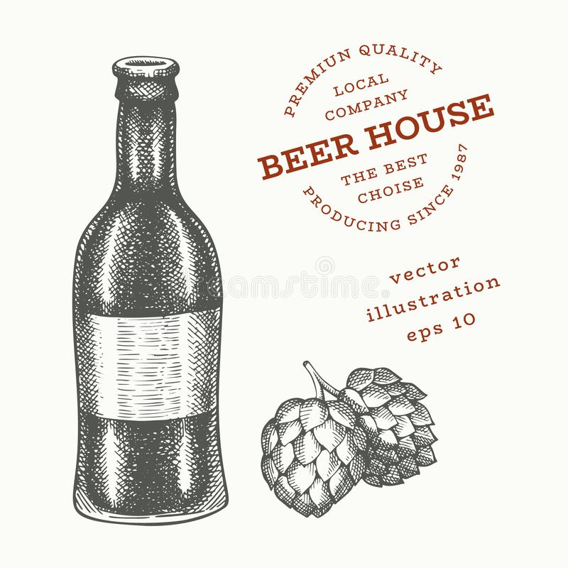 Beer glass bottle and hop illustration. Hand drawn vector pub beverage illustration. Engraved style. Retro brewery illustration royalty free illustration
