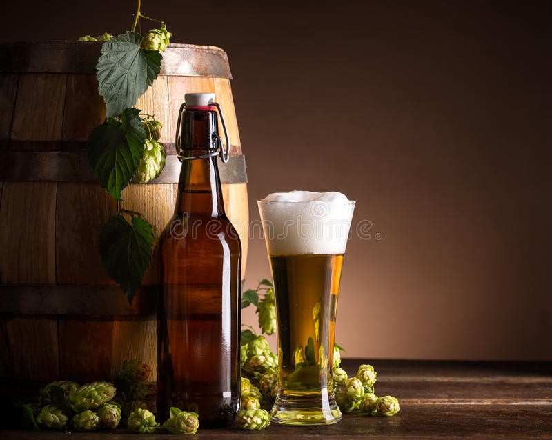 Beer glass and bottle. With hops and barrel royalty free stock photos