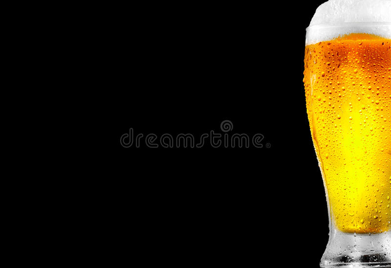 Beer. Glass of cold beer with water drops stock image