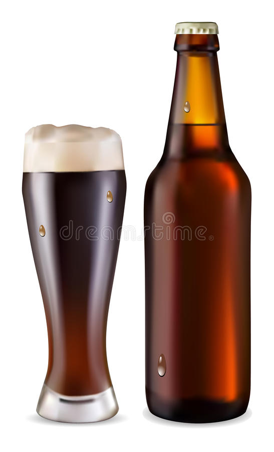 Beer in glass and dark bottle of bee royalty free illustration