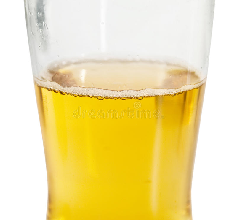 Beer glass without foam. On white background stock image