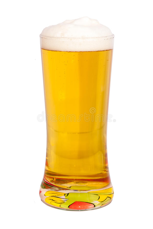 Beer. A glass full of beer isolated on white stock image