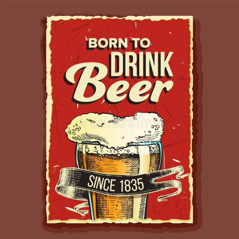 Beer Glass geboren om reclameposter te drinken Vector vector illustratie