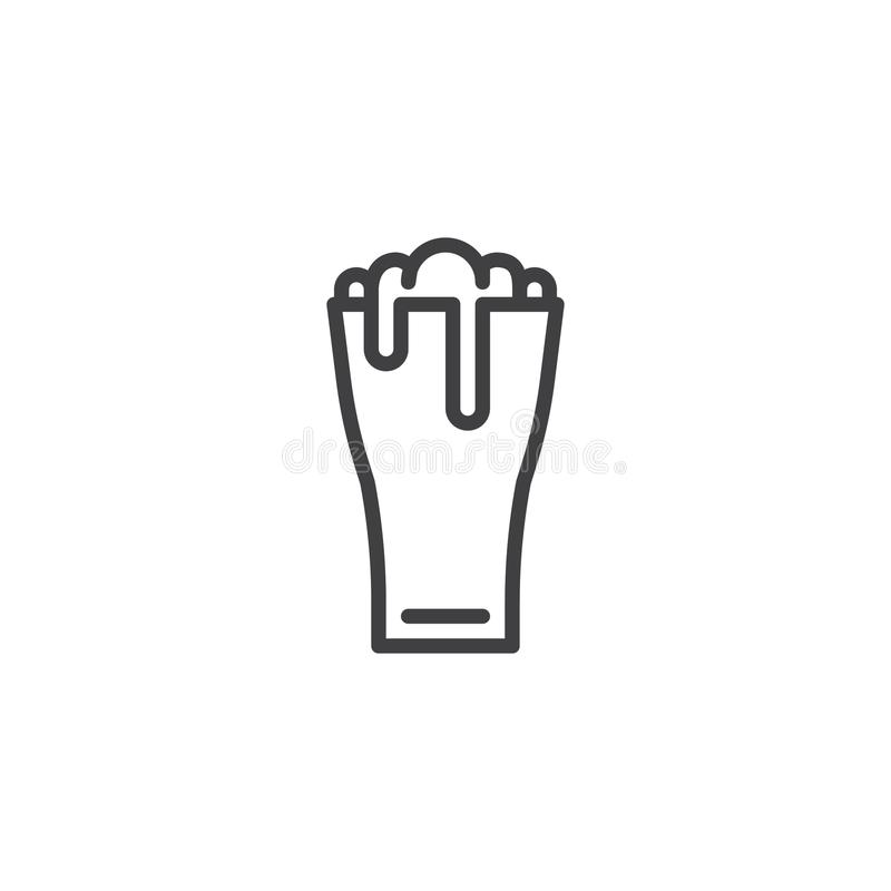 Beer glass line icon vector illustration