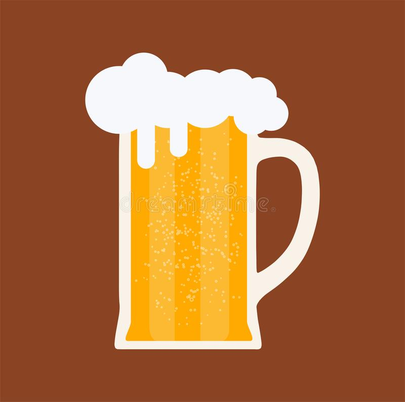 Beer glass mug beverage bar pub. Vector drink alcohol brewery background. Vintage yellow ale graphic symbol. Food icon illustratio stock illustration