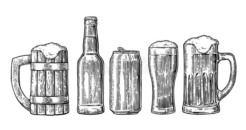 Beer glass, mug, can, bottle, hop. Vector vintage engraved illustration isolated on white background. royalty free illustration